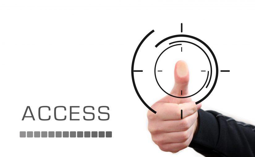 """Daumen in einem Kreis, daneben steht das Wort """"Access"""""""